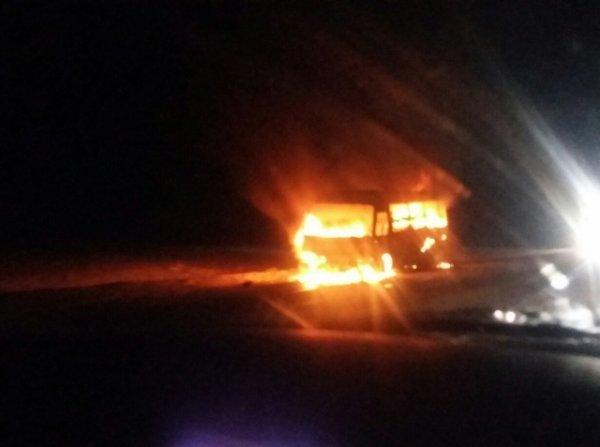 В Белорецком районе Башкирии сгорел туристический автобус